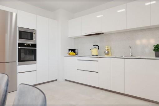 Cocina totalmente equipada blanca
