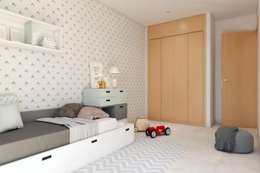 Dormitorio de niños com armarios empotrados