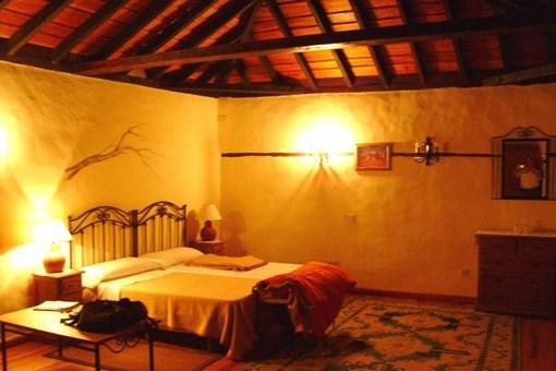 Amplio dormitorio con techo de vigas de madera hermosa