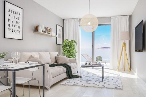 Sala de estar en estilo elegante con terraza