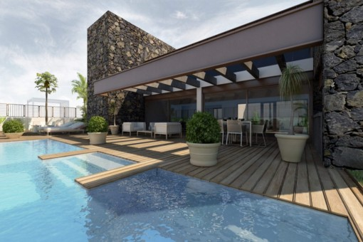 Gran piscina con una vista prestigiosa